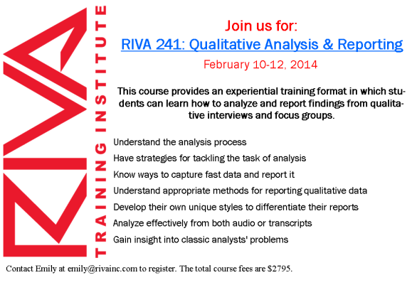 RIVA 241: Qualitative Analysis and Reporting